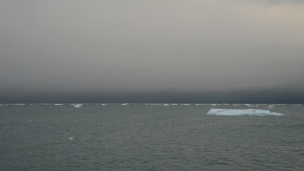 Ice cakes floating on a grey sea 2