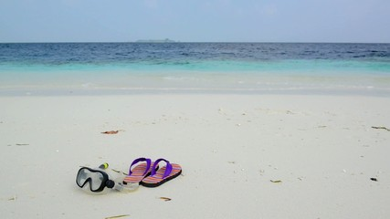 Sand beach and ocean wave, South Male Atoll. Maldives