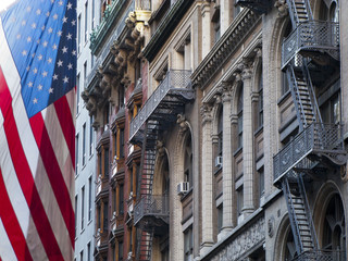 American flag and building facade