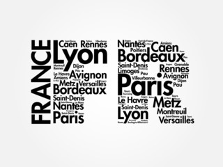 FRANCE abbreviation letters with cities names words cloud