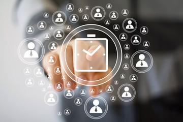 Businessman hand press clock time button