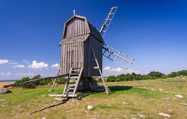 Traditional Swedish old windmill on Oland island