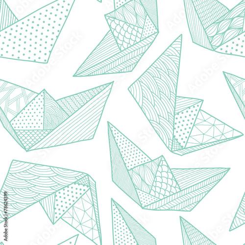 Cotton fabric Paper ships seamless pattern