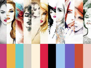 Collage Fashion Illustrations.woman portrait .ashion background © Anna Ismagilova