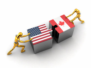 Political or financial concept of the USA struggling with Canada
