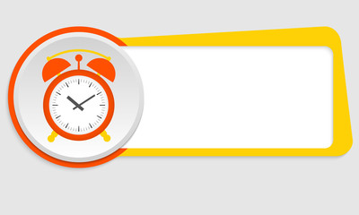 yellow frame for text and alarm clock