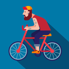 hipster riding bike