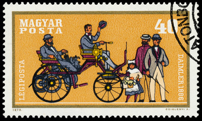 Stamp printed by Hungary shows automobile Daimler