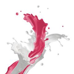mixed milk drink splash, dynamic splashing isolated on white