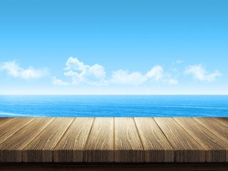 Wooden table with ocean landscape in background