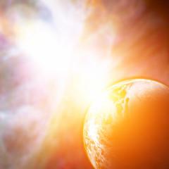 Sunrise over planets horizon with stellar wonders.