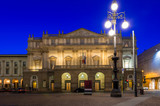 Teatro alla Scala (Theatre La Scala) at night in Milan, Italy