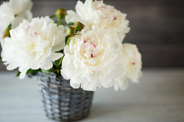 Beautiful bouquet of white peonies