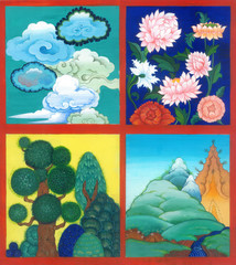 4 asian nature scene : clouds, flowers, trees, mountains