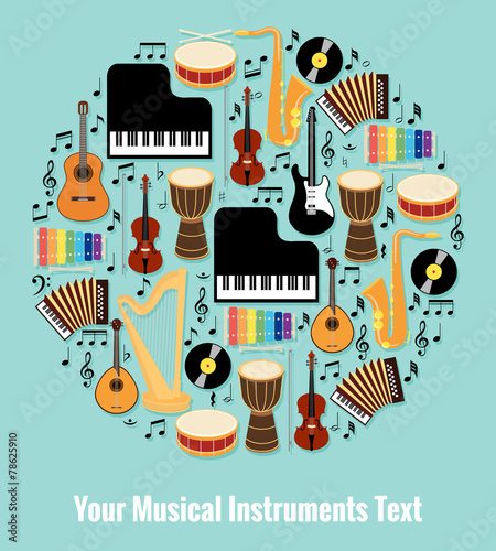 Assorted Musical Instruments Design with Text Area - 78625910