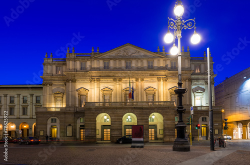 Teatro alla Scala (Theatre La Scala) at night in Milan, Italy - 78625922