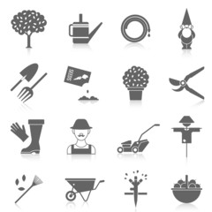 Vegetable garden icons set