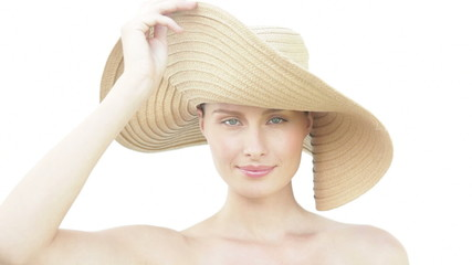 Woman with straw hat