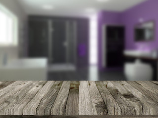 Wooden table with defocussed bathroom image