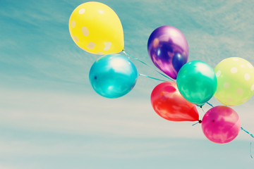colorful balloons on the background of blue sky