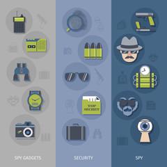 Spy gadgets banners set