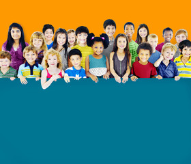 Multi-Ethnic Group of Children Empty Billboard Concept