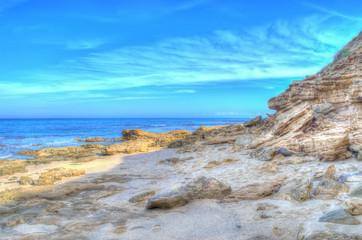 rocky shore in Sardinia in hdr