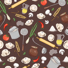 Kitchen and food seamless vector pattern