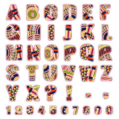 ABC letters with ethnic patterns