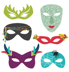 Isolated carnival masks