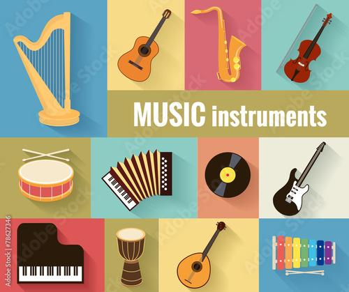 Musical instruments vector set - 78627346