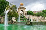 Fountain, cascade in park De la Ciutadella in Barcelona, Spain