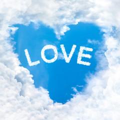 love word cloud heart shape
