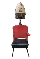 Vintage Retro Barber Hair Dryer And Chair