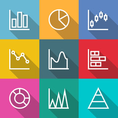 Business outline Charts and Graph Icons