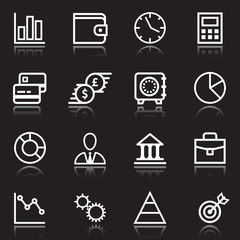 white business icons on black