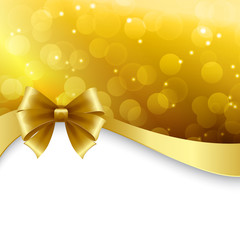 Shiny Holiday background with gold bow. Christmas Gift card