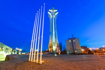 European Solidarity square with cross monument in Gdansk