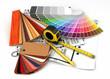 canvas print picture -  Architectural materials tools blueprints
