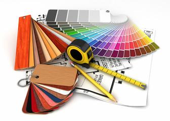 Architectural materials tools blueprints