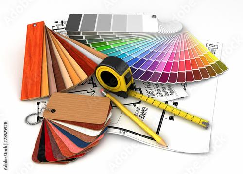 canvas print picture  Architectural materials tools blueprints