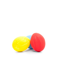 Colored easter eggs on white background