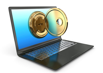 Internet security concept Key and laptop