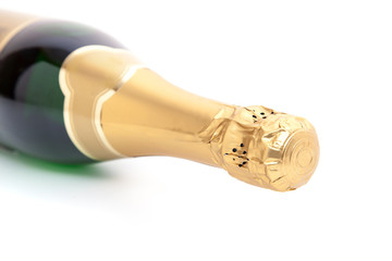Blank bottle of champagne. All on white background