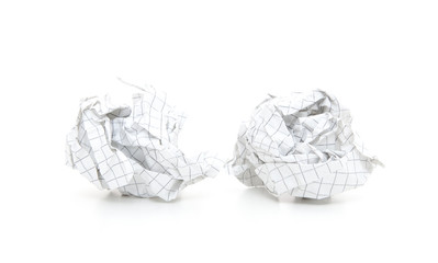 Crumbled-up paper. All on white background
