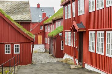 Tinganes with old parliament buildings, Torshavn Faroe islands.