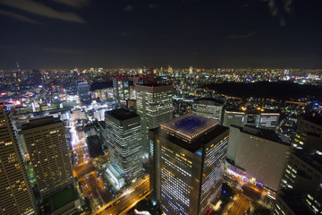 大都会東京イメージ 新宿高層ビル街から望む東京全景 東京タワーと東京スカイツリーを同時に望む