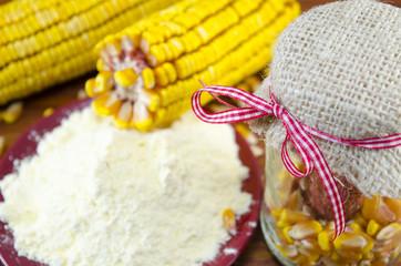 Jar with corn, flour and corn ear