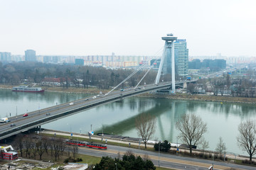 Skyline of Bratislava with Bridge of the Slovak National Uprisin
