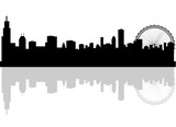 Fototapety silhouette chicago city